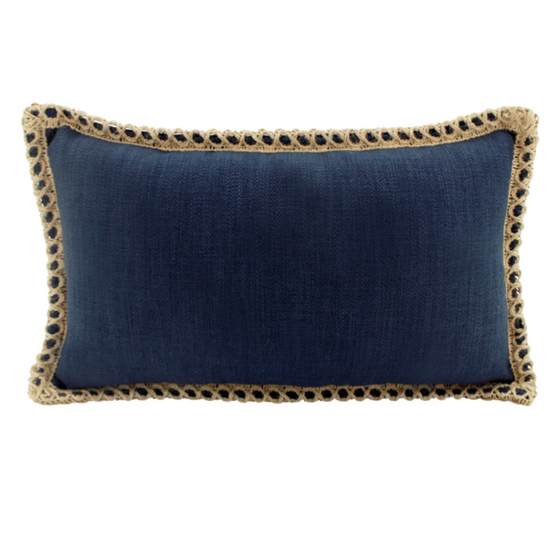 Linen Jute Navy Feather Filled Cushion 30x50cm