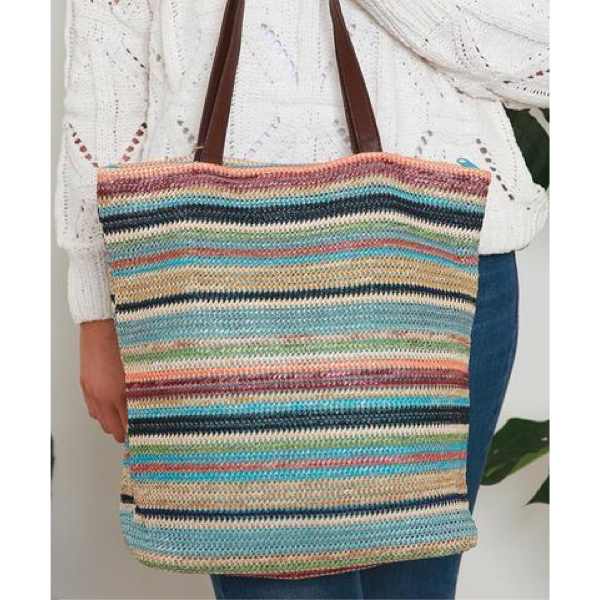 Multi Stripe Woven Carry Bag Blue