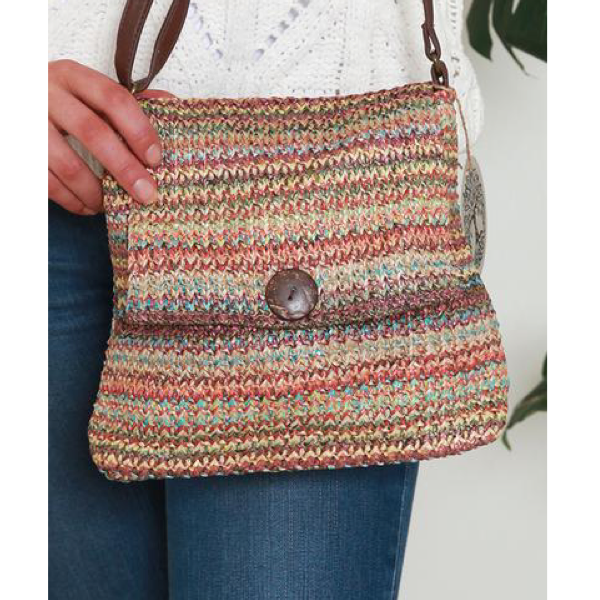 Multi Stripe Woven Shoulder Bag Terracotta