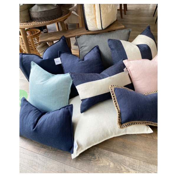 Linen Stripe Navy Feather Filled Cushion 55x55cm
