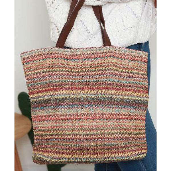 Multi Stripe Woven Carry Bag Terracotta