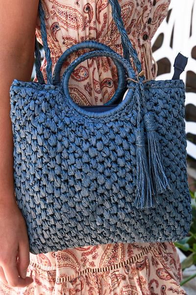 Ring Woven Hand Bag Blue