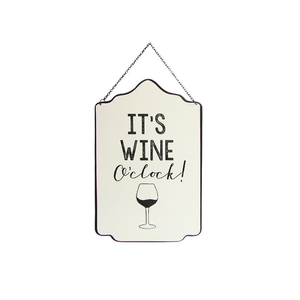 Wine O clock Metal Sign 35x23cm