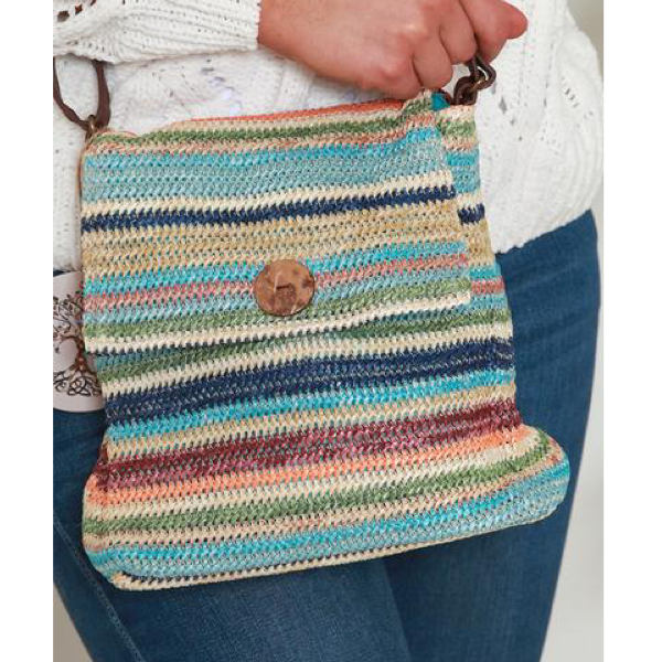 Multi Stripe Woven Shoulder Bag Blue