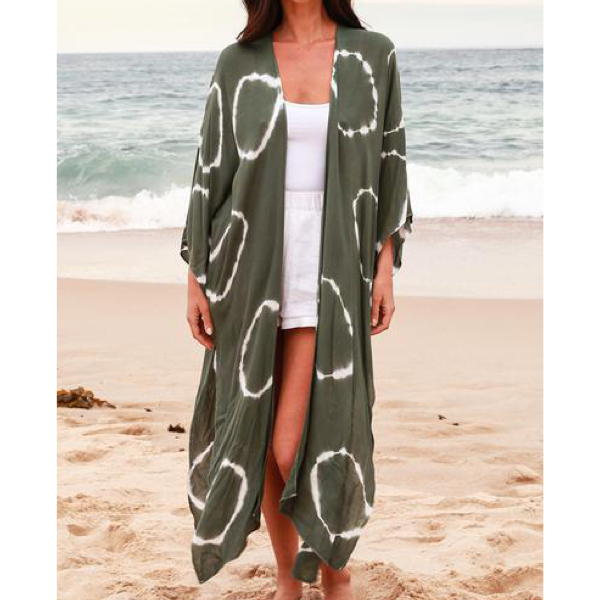 Khaki White Circle Kaftan