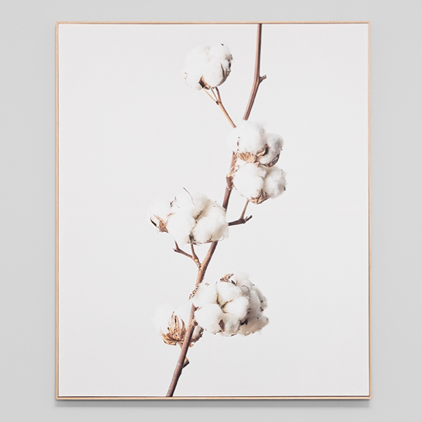 White Cotton Framed Canvas 100x120cm