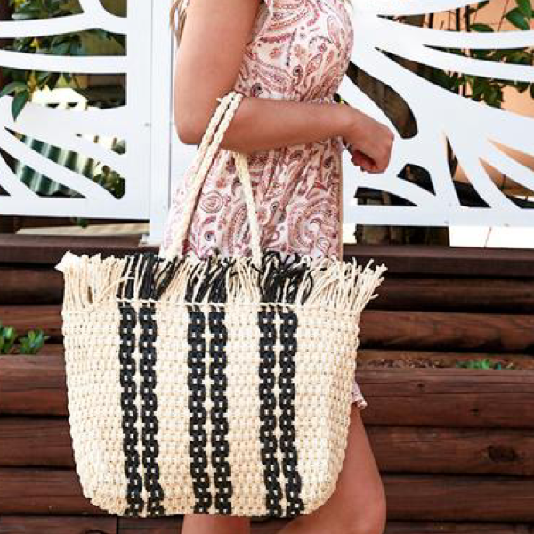 Stripe Woven Carry Bag White