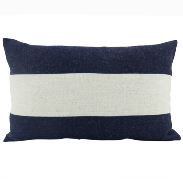Linen Stripe Navy Feather Filled Cushion 30x50cm