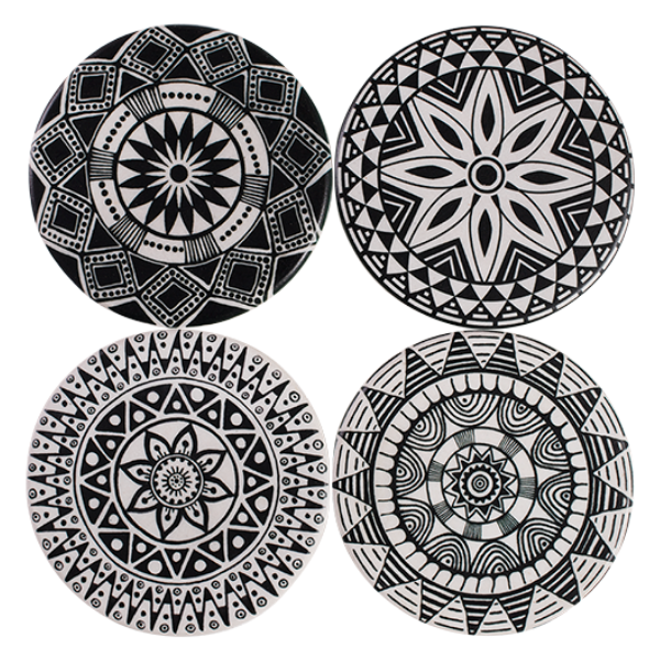Coasters Round Black and White
