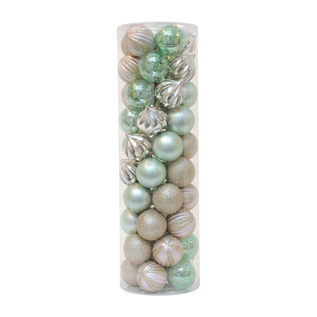 50 Bauble Tube Pink & Sage