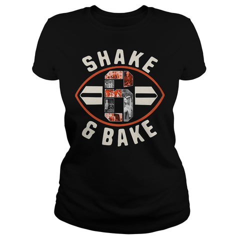 1c8a446af3a3c6 Shake and bake Baker Mayfield 6 football Cleveland Premium Fitted Ladies Tee