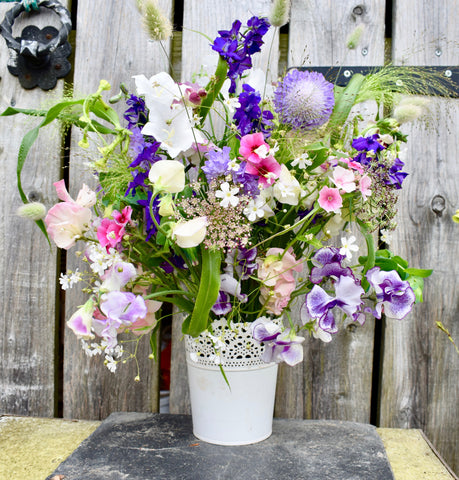 Bouquet of British Flowers in Zinc Planter