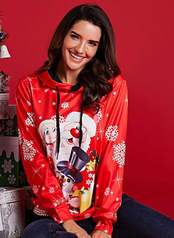 Christmas Pullover Snowman Pattern Hoodie