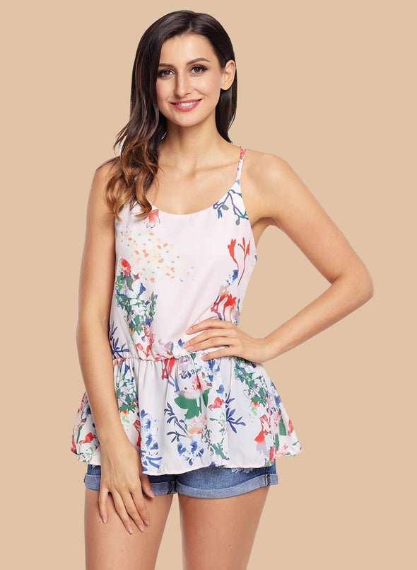 Floral Ruffled Babydoll Camis Tank (LC250130-10-1)