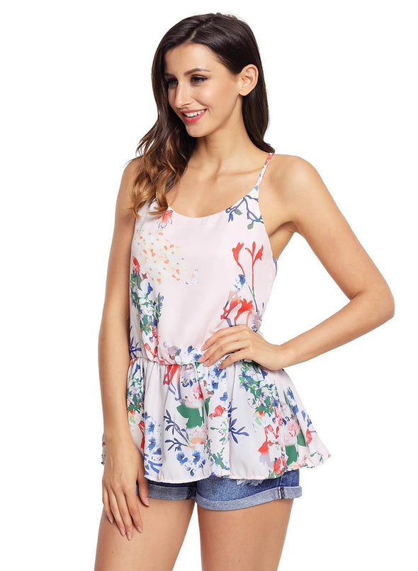 Floral Ruffled Babydoll Camis Tank (LC250130-10-3)