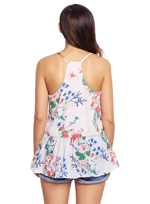Floral Ruffled Babydoll Camis Tank (LC250130-10-2)