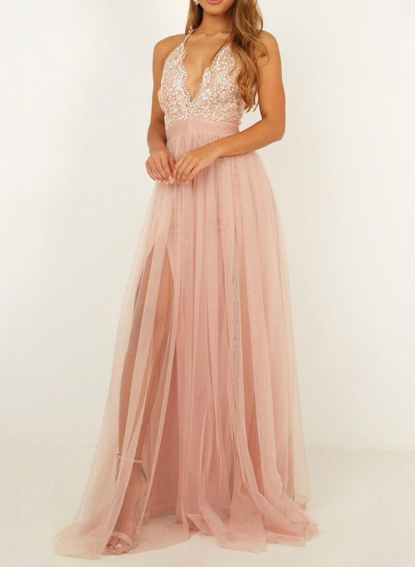 Elegant Pearl Lace Maxi Dress
