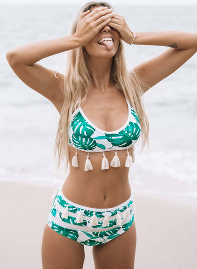 Tropical Print Tassel High Waist Bikini