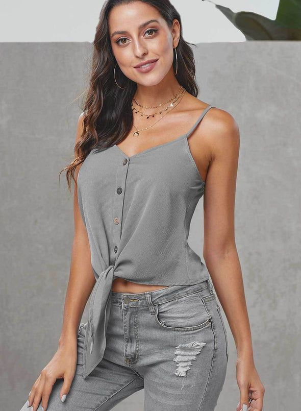 V Neck Buttons Sexy Front Knot Camis