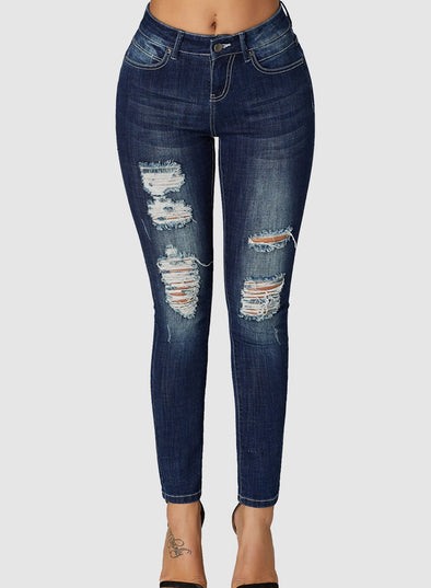 Wash Frayed Hem Distressed Jeans