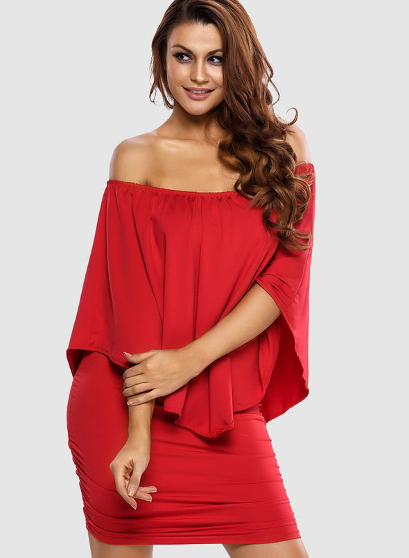 Off Shoulder Ruffles Bodycon Mini Dress