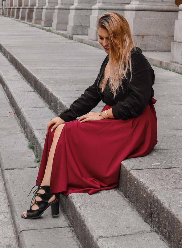 High Waist Front Slit Belted Casual A-Line Pleated Midi Skirt Dresses