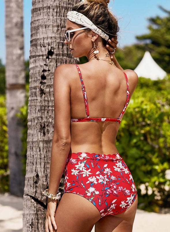 Scalloped Trim Printed Sling Two-piece Swimsuit