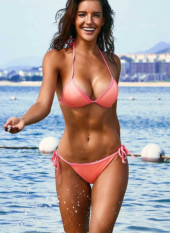 Halter Triangular Bikini with Ties
