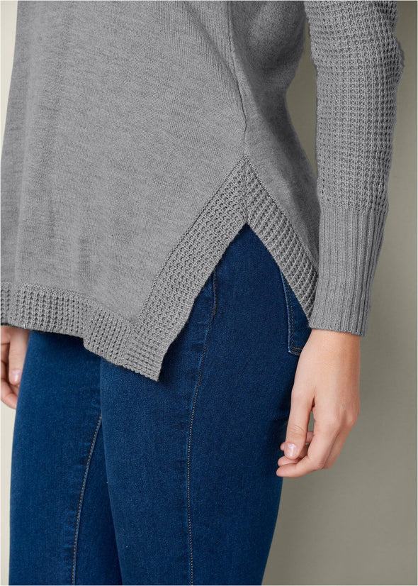 Button Back Cowl Neck Sweater