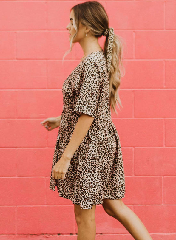 Leopard Print V Neck Button Half Sleeves Swing Dress