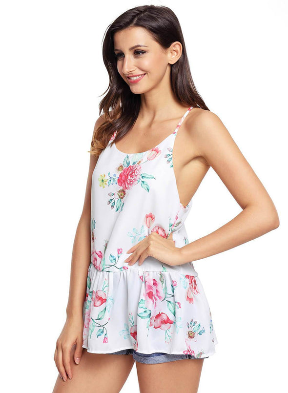 Floral Ruffled Babydoll Camis Tank (LC250130-1-3)