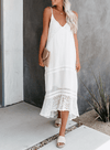 Hi-lo Spaghetti Lace Hollow Maxi Dress