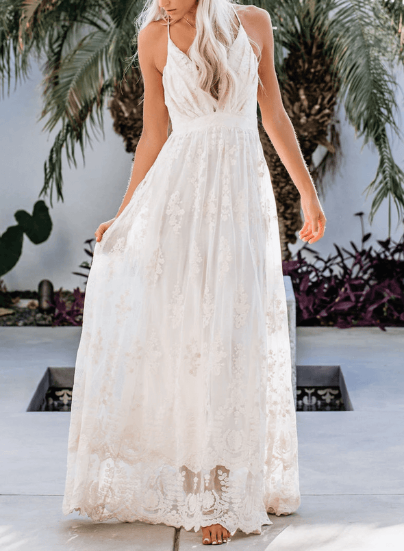 V Neck Open Back Lace Maxi Dress