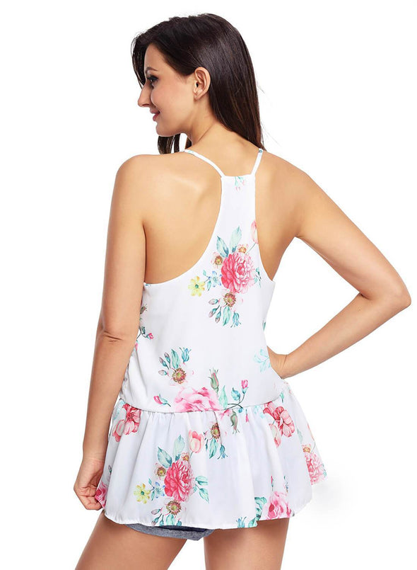 Floral Ruffled Babydoll Camis Tank (LC250130-1-2)