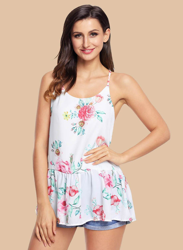 Floral Ruffled Babydoll Camis Tank (LC250130-1-1)