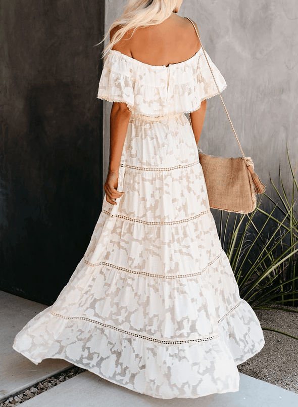 Off Shoulder Tunic Lace Hollow Maxi Dress