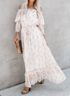 Off Shoulder Tunic Floral Lace Maxi Dress