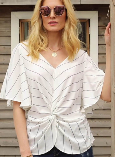 Striped Front Twist Loose Blouse (LC251896-1-1)