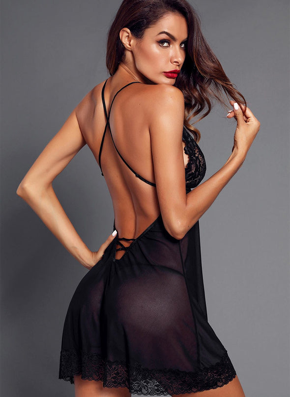 Low Back Crisscross Lace Trim Babydoll