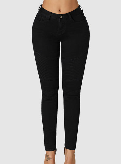 Ribbed Texture Detail Black Denim Pants