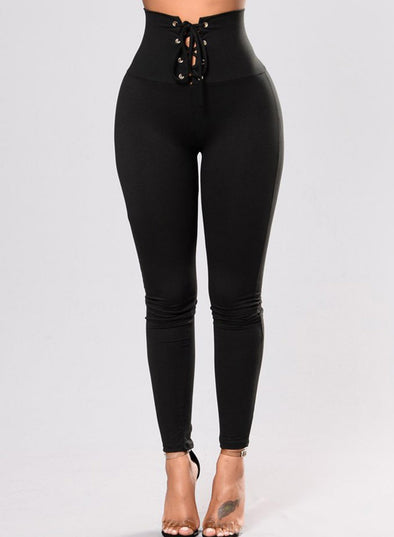 Black Lace-up High Waist Cincher Leggings