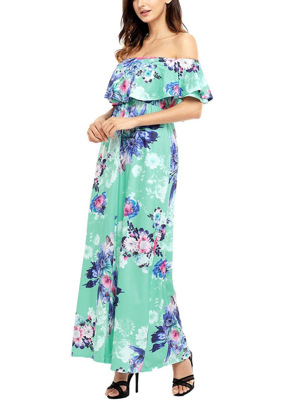 Ruffle Off Shoulder Floral Print Maxi Boho Dress