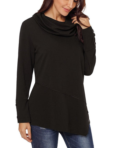 Button Detail Asymmetric Cowl Neck Sweatshirt