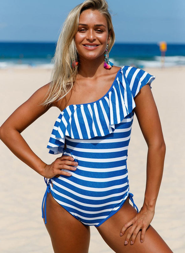 Stripes Ruffle One Piece Swimsuit