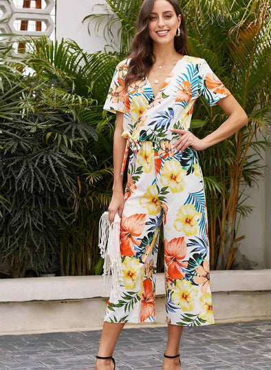 Wrap V Neck Floral Wide Leg Jumpsuit with Belt