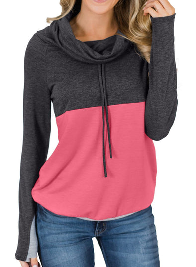 Colorblock Thumbhole Sleeved Sweatshirt
