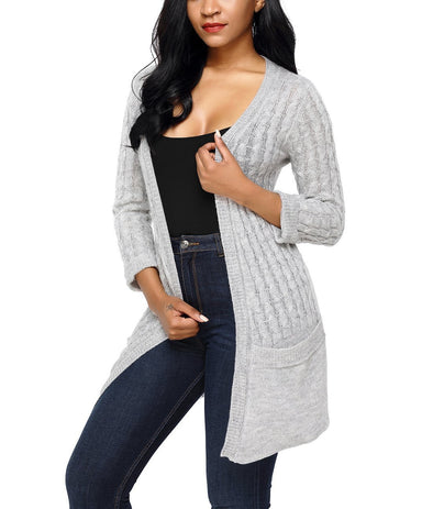 3/4 Sleeve Open Front Casual Knit Sweater