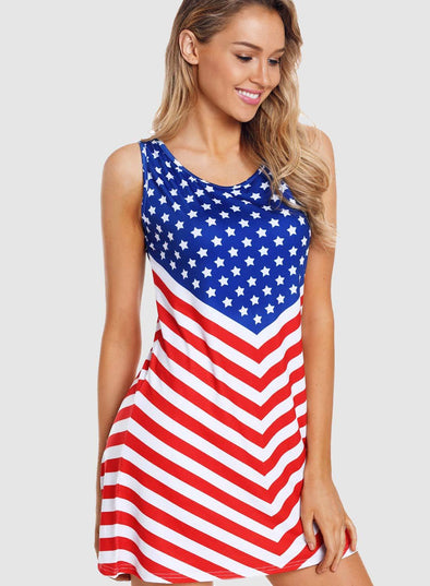 Fourth Of July Sleeveless Flag Dress