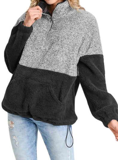 Color Block Zip High Neck Fleece Sweatshirt