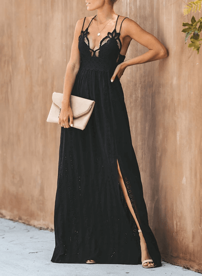High Slit V Neck Lace Maxi Dress